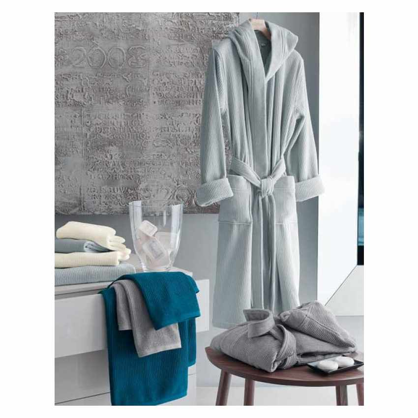 Ribbed Jacquard Svad Dondi bathrobe with Hood Pockets Unisex - esterno