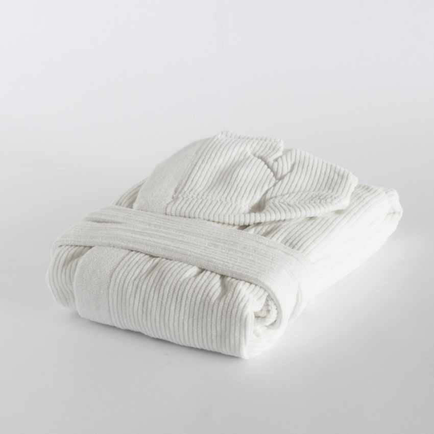 Ribbed Jacquard Svad Dondi bathrobe with Hood Pockets Unisex - scontato