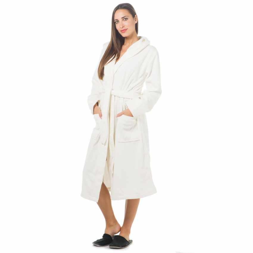 Ribbed Jacquard Svad Dondi bathrobe with Hood Pockets Unisex - immagine