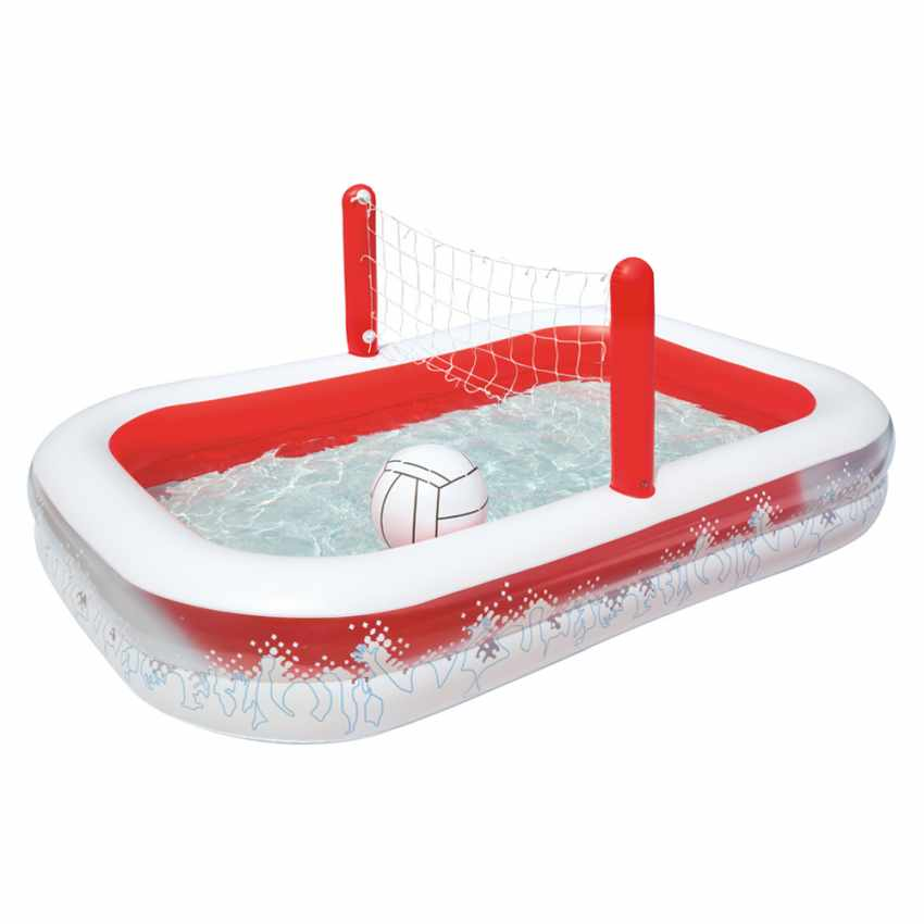 Inflatable Kiddie Paddling Pool With Volleyball Set