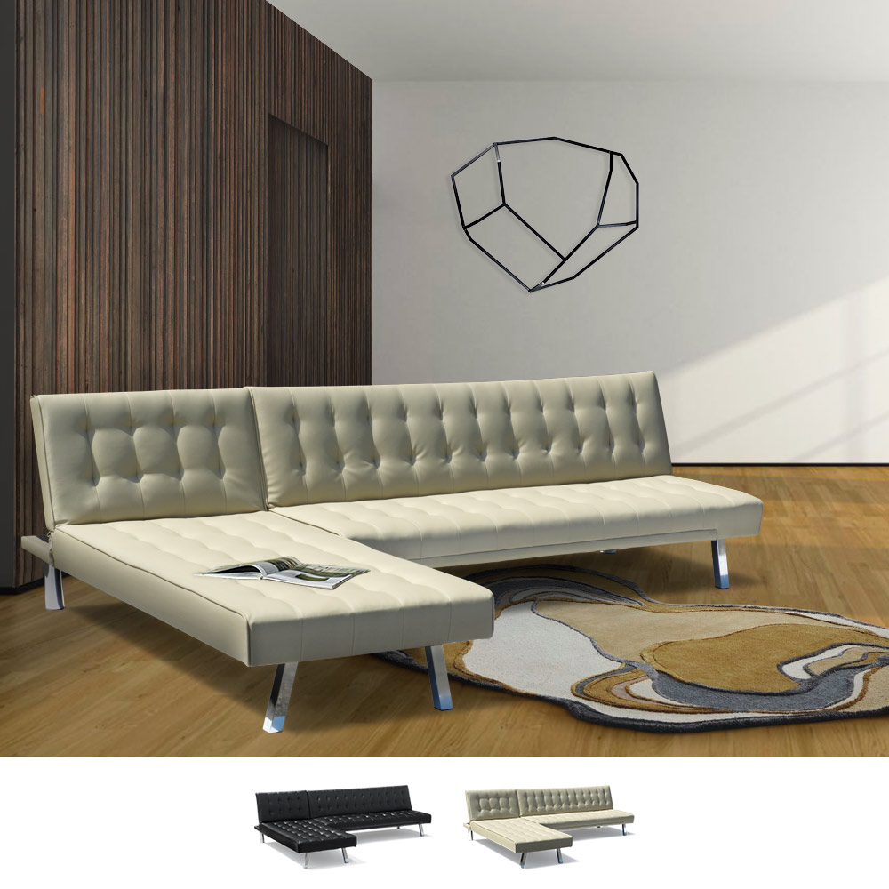 Corner Sofa Bed In Faux Leather With