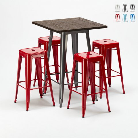 High table set and 4 metal stools in