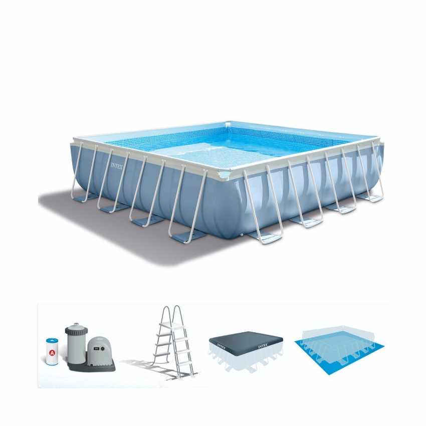 Above ground pool square 427x427cm intex 28764 prism frame for Intex pool 120 hoch