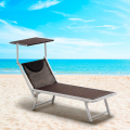 Set of 4 SANTORINI Limited Edition Folding Sun Loungers With Headrest And Adjustable Backrest - esterno