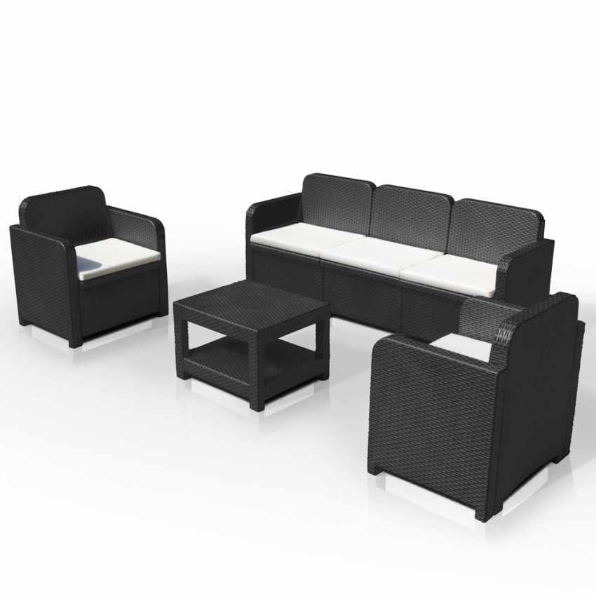 Outdoor Lounge Set 2 Chairs 1 Sofa 1 Table Polyrattan 5 Seats Positano