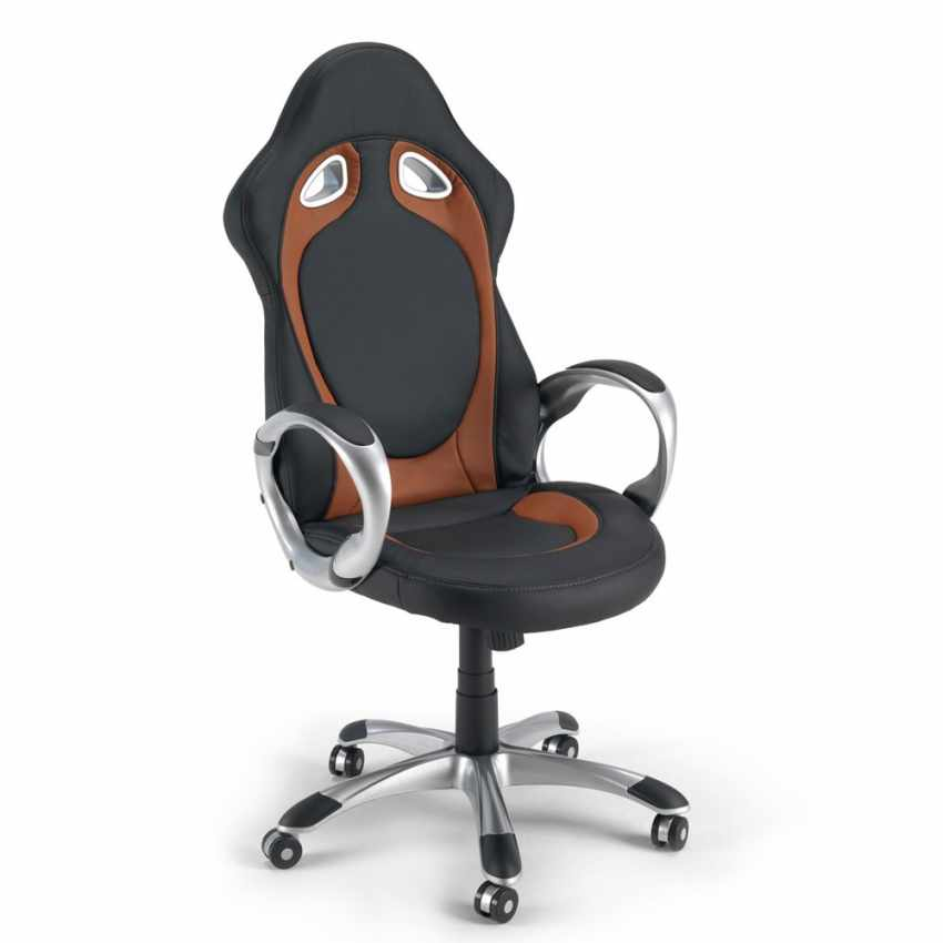 Racing Style Office Chair in Faux Leather Ergonomic Seat for Gaming Working RACE - offerta