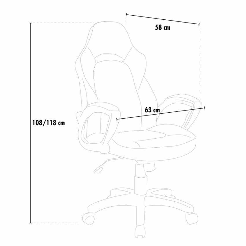 SU001RAC - Racing Office Chair with Ergonomic Design PRO - blu