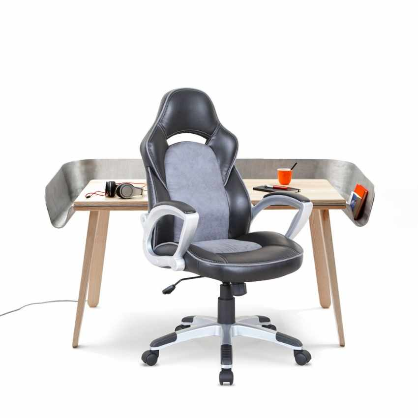 Office Chair in Faux Leather with Racing Style for Working Gaming Ergonomic EVOLUTION - scontato