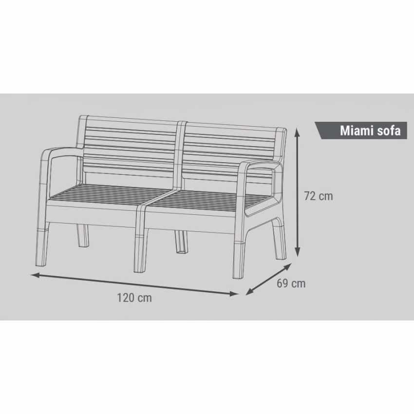 Garden Lounge Set Including Sofa Armchairs Table in Polyrattan MIAMI - nuovo