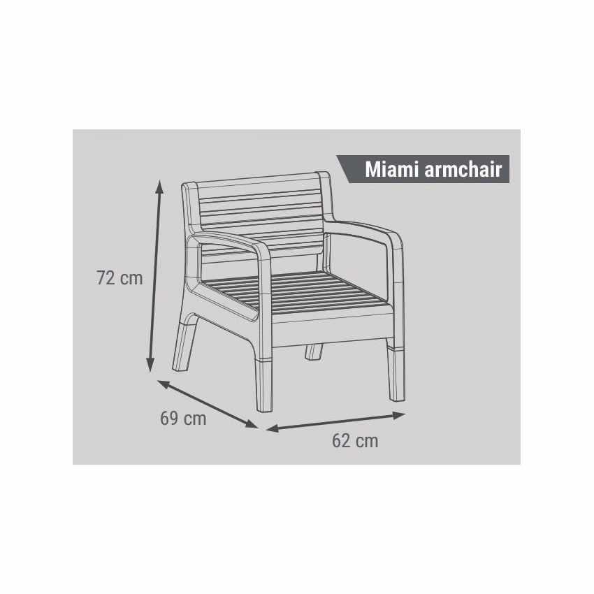 Garden Lounge Set Including Sofa Armchairs Table in Polyrattan MIAMI - esterno