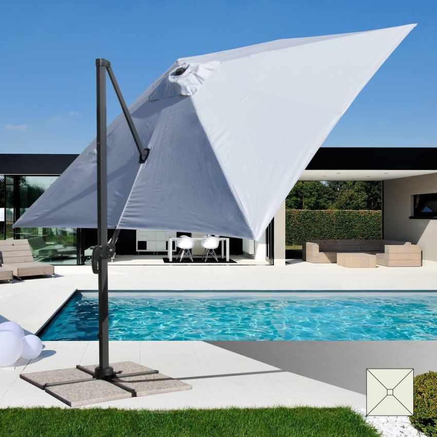 Cantilever patio parasol square 3x3 anti uv adjustable for Sombrillas para piscinas