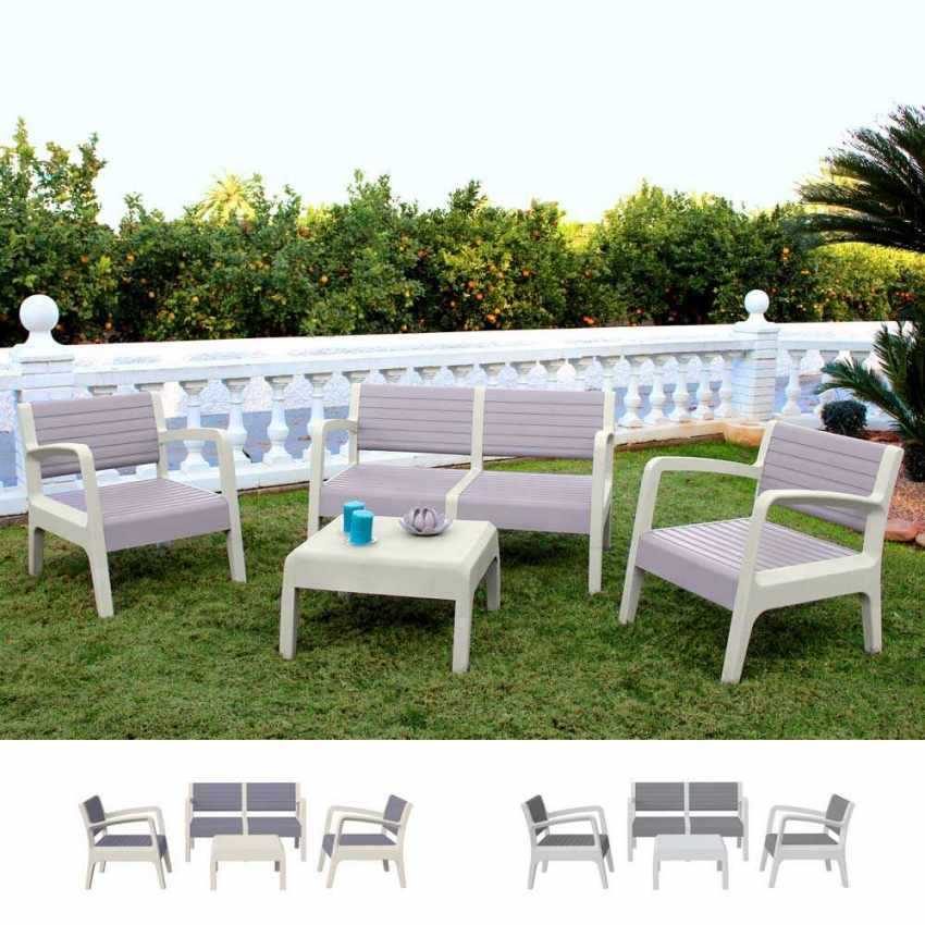 Garden Lounge Set Including Sofa Armchairs Table in Polyrattan MIAMI - mejor