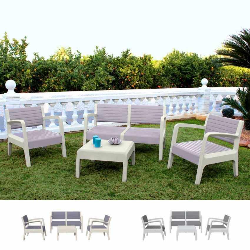 Garden Lounge Set Including Sofa Armchairs Table in Polyrattan MIAMI - foto
