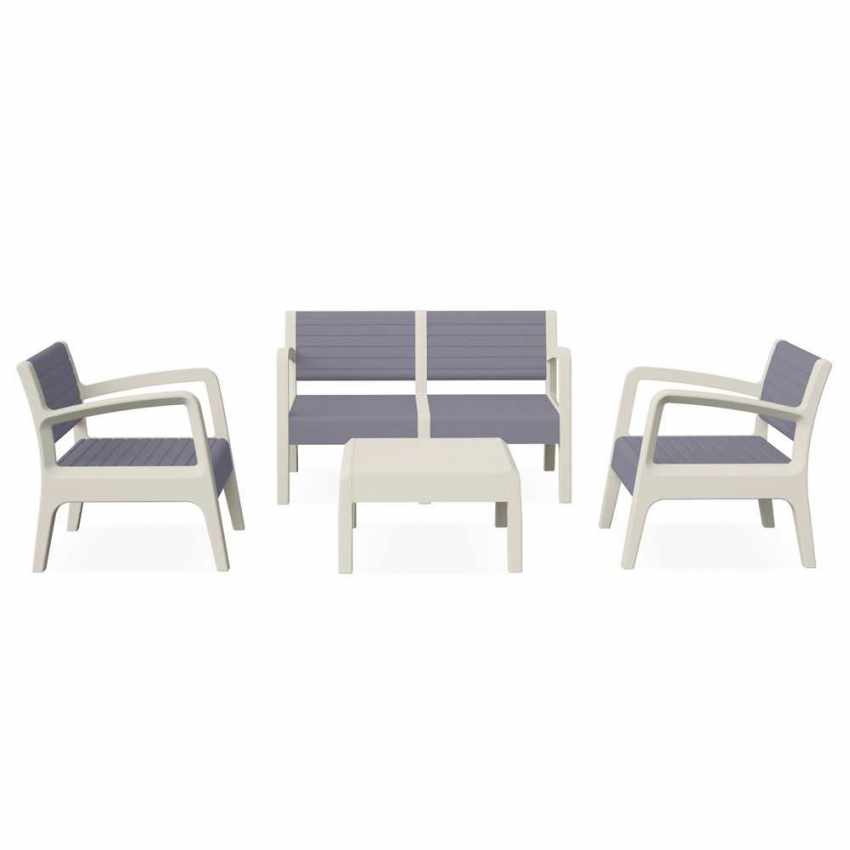 Garden Lounge Set Including Sofa Armchairs Table in Polyrattan MIAMI - mobiliario