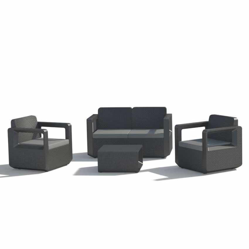 Simple Polyrattan Outdoor Garden Furniture Set Sofa Chairs Table Venus Nero  With Polyrattan