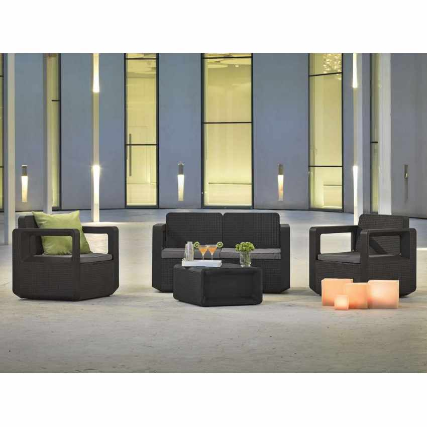 Polyrattan outdoor garden furniture set sofa chairs table VENUS - promo