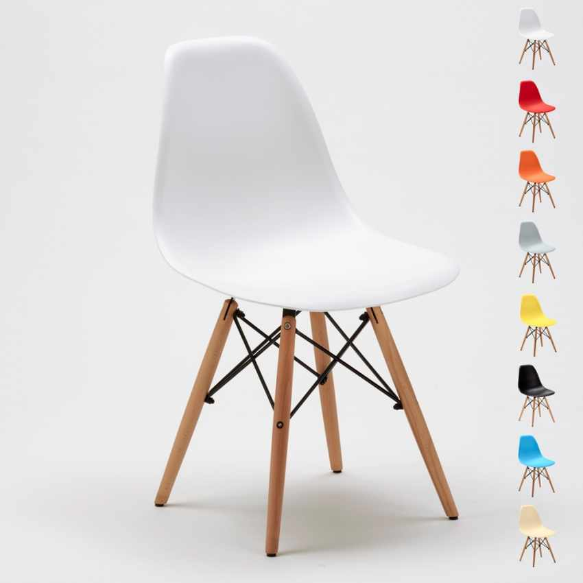 Lot of 28 DSW WOODEN design chairs in polypropylene & wood for kitchens bars offices - migliore