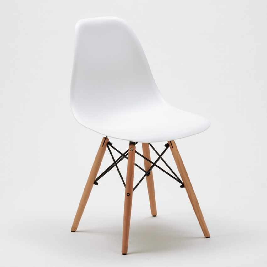 Lot of 28 DSW WOODEN design chairs in polypropylene & wood for kitchens bars offices - esterno