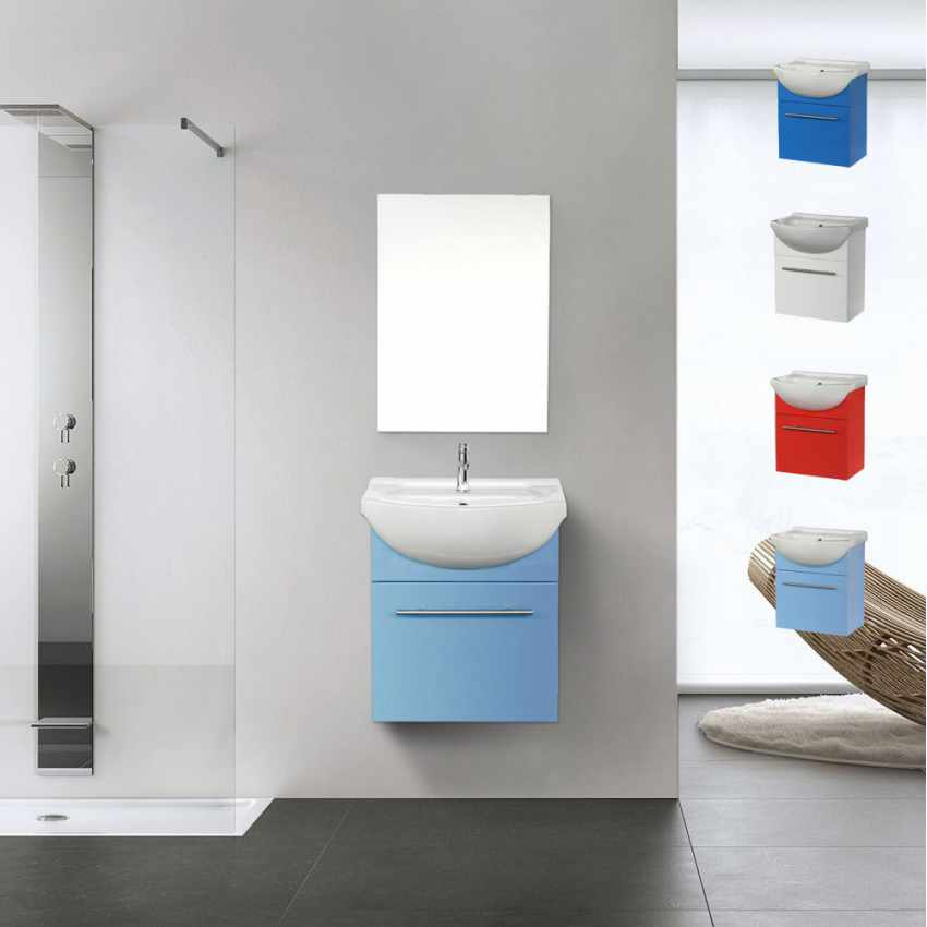 Complete Bathroom Set with Mirror Cabinet Sink in Lacquered Ceramic - esterno