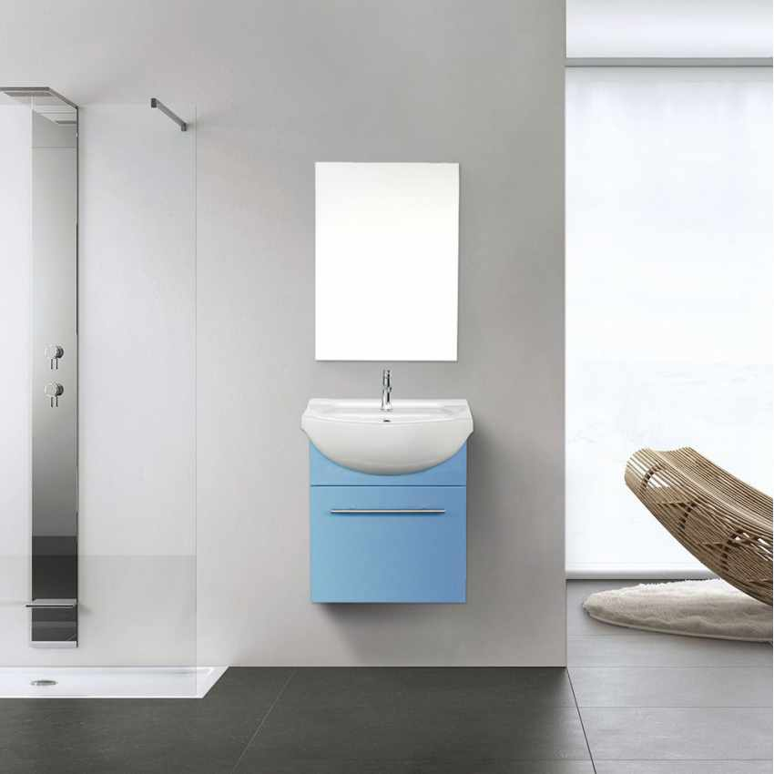 Complete Bathroom Set with Mirror Cabinet Sink in Lacquered Ceramic - scontato