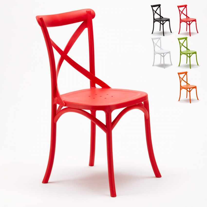 Lot of 20 Design Chairs Vintage Style in Polypropylene for Home Interiors Restaurants CROSS - arredamento