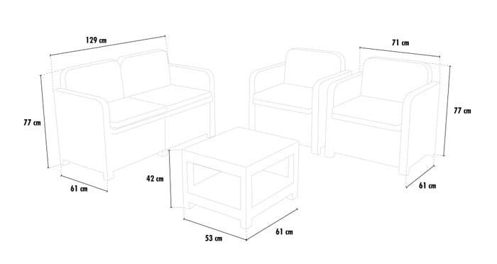 Synthetic poly rattan lounge furniture Positano
