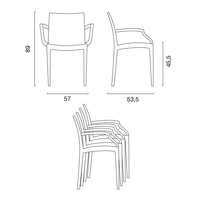 Outdoor chair plastic armrests Polyrattan BISTRO ARM Grand Soleil